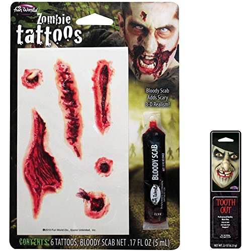 Potomac Banks Bundle: 2 Items - Zombie Bloody SuperToos Tattoo Makeup Kit with Free Pack of Makeup -