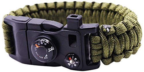 RnS STAR Paracord Survival Bracelet 500 LB - Hiking Gear Travelling Camping Gear Kit - 5-in-1 Parachute Rope Bracelet,Fire Sticks,Compass Stone,Survival Knife,Whistle