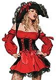Leg Avenue Women's Vixen Pirate Wench Costume, Black/Red, Small