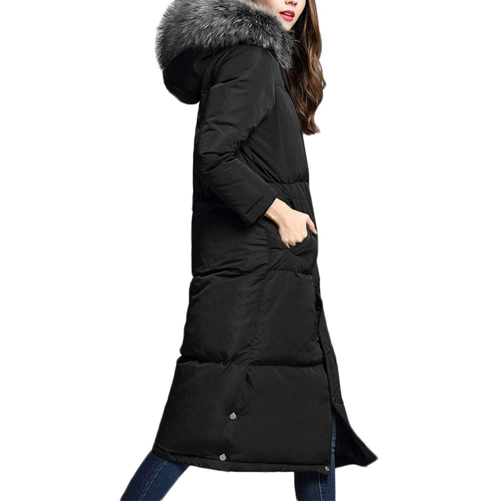 Black Michealboy Women's Puffer Coat with Faux Fur Trimmed Hood Thicker Down Jacket