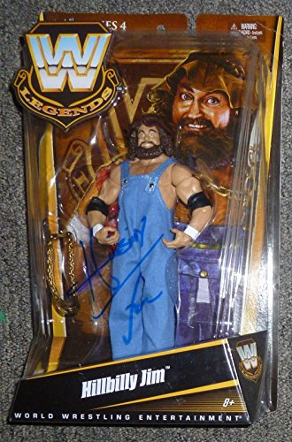 (Hillbilly Jim Signed Mattel WWE Legends Action Figure COA Wrestling Auto - PSA/DNA Certified - Autographed Wrestling Cards)