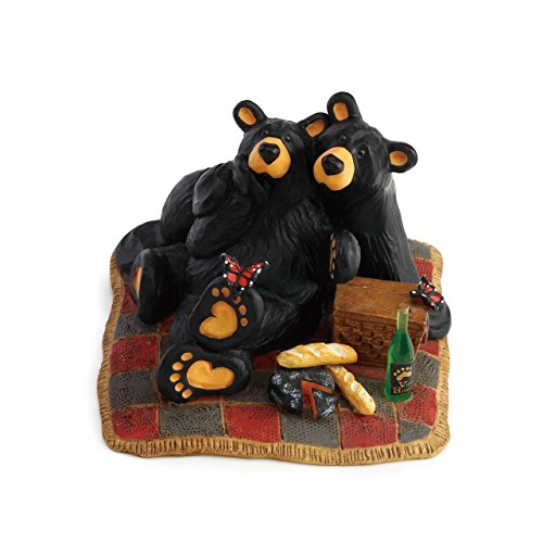 DEMDACO Butterfly Picnic Black Bear 4 x 4.5 Hand-cast Resin Figurine Sculpture -