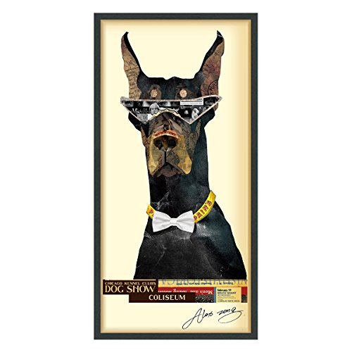 Empire Art Direct Doberman Pinscher Dimensional Collage Handmade by Alex Zeng Framed Graphic Dog Wall Art, 25