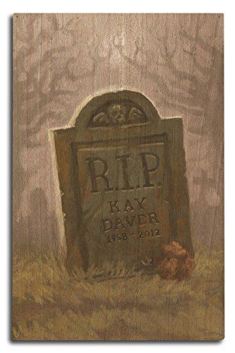 Lantern Press Headstone - Halloween Oil Painting (10x15 Wood Wall Sign, Wall Decor Ready to Hang)