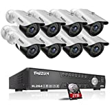 TMEZON 16CH AHD 1080N DVR Digital Video Recorder + 8 x 1080P 2.0MP 2000TVL Outdoor Night Vision Bullet Camera Security Kit(2TB HDD)