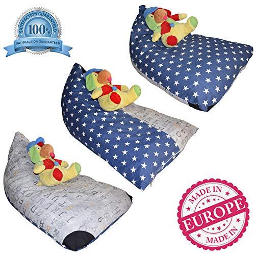 (DaMeru Stuffed Animal Storage Bean Bag Chair - 3 Patterns in 1 Toy Organizer - Extra Large Creative Beanbag Cover - Kids Favorite Over Hammock & Net (Navy & Grey, 200 L/52 Gal))