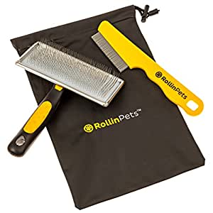 RollinPets Slicker Dog Grooming Brush, Removes Loose Undercoat Quickly And Pain-Free INCLUDES FREE Flea Comb