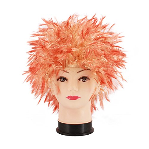 Adult Cheerleader Wig - Multifit Unisex Funky Spiky Wigs Crazy Halloween Costumes Cosplay Punk Wig Party Curl Wigs Accessory(Red)
