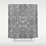 Grey Floral Shower Curtain. Shabby Chic home decor bathroom accessories. Matching bath mat available.