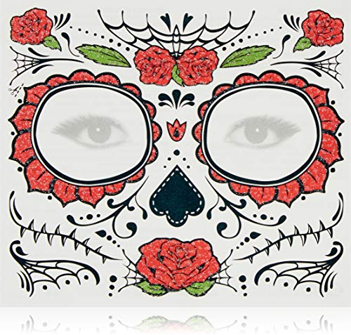 DaLin Day of the Dead Sugar Skull Temporary Face Tattoo Kit for Halloween - Pack of 4 Kits, Black Skull, Floral Skull