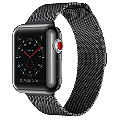 AdMaster Apple Watch Band 38mm 42mm Stainless Steel Metal Replacement Wristband Milanese Sport Strap and Apple Watch Screen Protector for Apple Watch Series 3, Series 2, Series 1