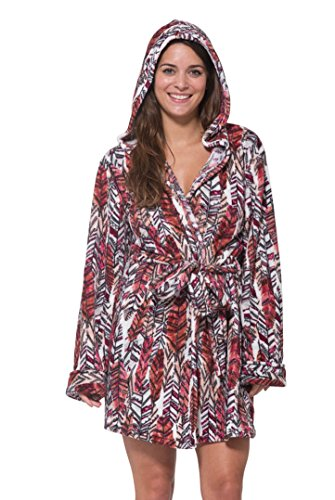 WallFlower Women's Luxury Soft Sleepwear Plush Warm and Cozy Printed Hooded Robe Loungewear for Ladies - Dream Feathers, X-Large (Vintage Chenille Robe)