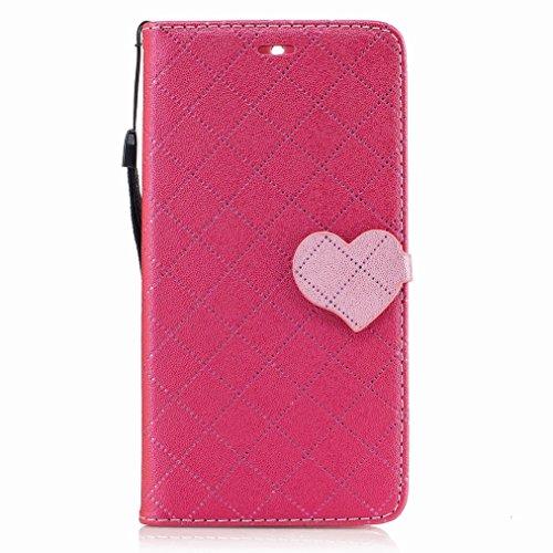 Yiizy Nokia 6 Custodia Cover, Amare Design Sottile Flip Portafoglio PU Pelle Cuoio Copertura Shell Case Slot Schede Cavalletto Stile Libro Bumper Protettivo Borsa (Rose Red)