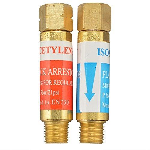 AGPTEK Oxygen Acetylene Flashback Arrestors Set Regulator End 9/16 -18 Threads B Size by AGPTEK