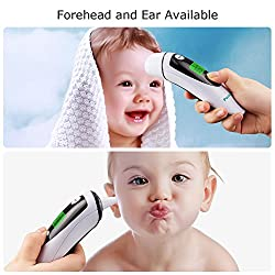Forehead and Ear Thermometer for Baby, Perkisboby Infrared Medical Digital Forehead Thermometer with Ear Function Fever Indicator High Accuracy for Kids Adult