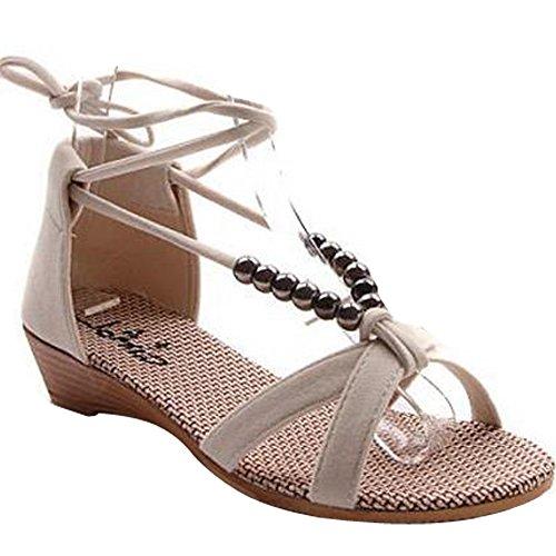 de avec Beige Sandales Mince plage vacances Minetom chaussures Bandage accessoire de Femme wPzzEFq