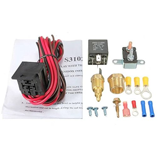 JahyShow 185~200 Degree Engine Cooling Fan Thermostat Temperature Switch Sensor Relay Kit
