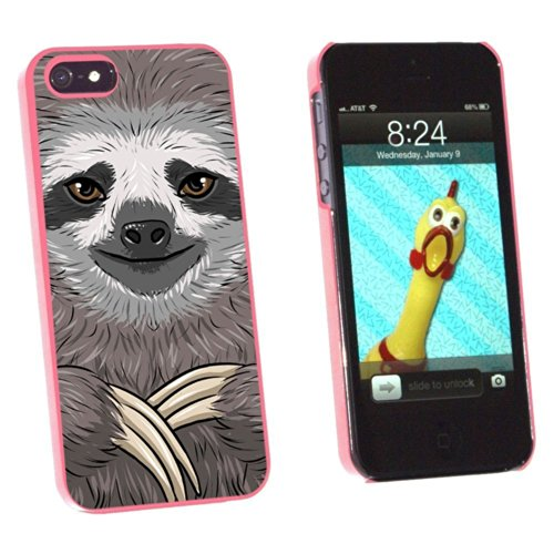 Graphics and More Sloth Face Snap-On Hard Protective Case for Apple iPhone 5/5s - Non-Retail Packaging - Pink