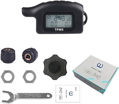 Kkmoon Motorrad Tpms Reifendruckkontrollsystem Wireless Reifendruck Messer Mit 2 Externe Sensoren Lcd Display Alarmfunktion Temperatur Anzeige Für Motorrad Auto