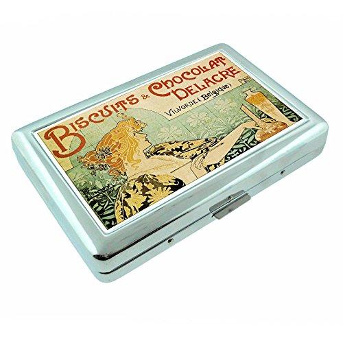 Metal Silver Cigarette Case Vintage Poster D-055 Biscuits & Chocolat Delacre
