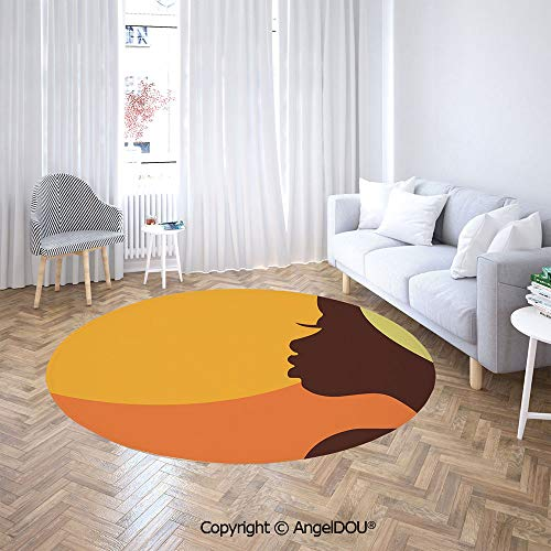 - AngelDOU Soft Durable Round Children Carpet Play Mat Teenage Girl Pretty Face Profile Abstract Sunset Calm Evening Decorative Baby Crawling Blanket Area Rug.