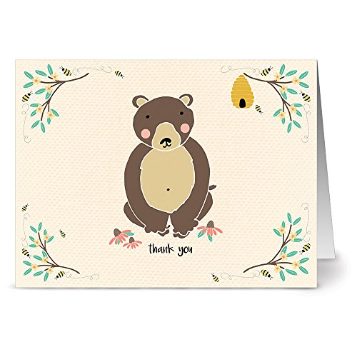 Honey Bear - 36 Note Cards - Blank Cards - Kraft Envelopes Included