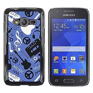LECELL -- Funda protectora / Cubierta / Piel For Samsung Galaxy Ace 4 G313 SM-G313F -- Music Guitar Hippy Pattern --