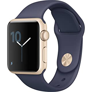 Apple Watch Series 1 38mm Smartwatch (Gold Aluminum Case, Midnight Blue Sport Band) (Renewed)