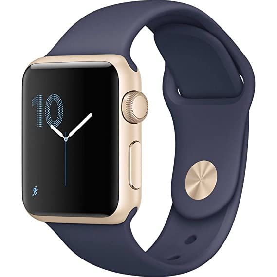 reputable site 032c6 b523e Apple Watch Series 1 38mm Smartwatch (Gold Aluminum Case, Midnight Blue  Sport Band) (Renewed)