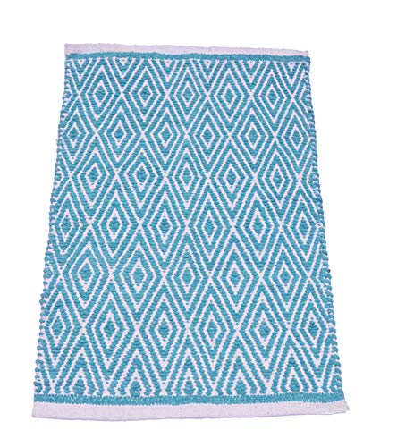 Chardin home 100% Cotton Diamond Rug Fully Reversible, Mat Size - 21''x34'', Machine Washable, Turquoise Blue/Ivory (Turquoise Kitchen Rugs)