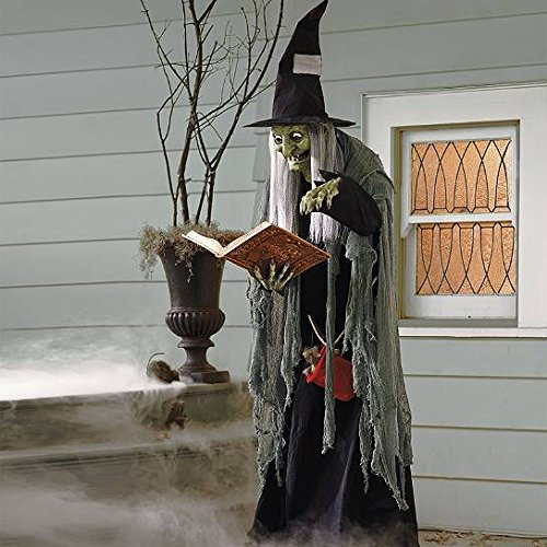 Life Size Animated Old Hag Woman Spell Wicked Witch Outdoor Halloween Prop (Animated Halloween Decor)