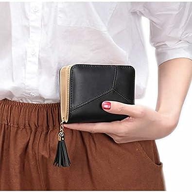 582be6a2414637 Amazon.co.jp: 二つ折り財布 レディース 人気 安い ノーブランド 黒 ピンク ピンク,フリーサイズコンパクト ファスナー レザー  ウォレット カードケース シンプル ...