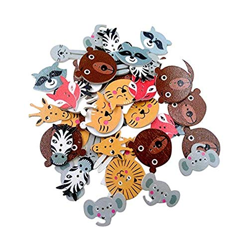 YaptheS Wood Button Decorations,20mm Assorted Animal Shape 2 Hole Wooden Buttons 50 -
