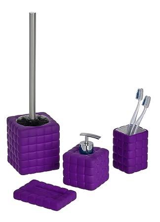 bad accessoires set wc garnitur seifenablage zahnputzbecher seifenspender cube keramik lila petrol