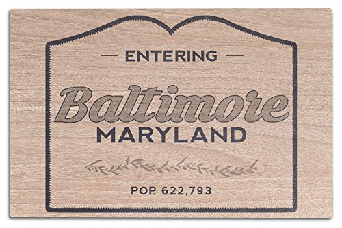 Baltimore, Maryland - Now Entering (Blue) (12x18 Wood Wall Sign, Wall Decor Ready to - The Hours Baltimore Gallery