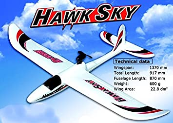 Avion velero radiocontrol Dynam Hawk Sky. 4 canales. 2,4Ghz. Brushless. 1370 mm de envergadura