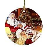 Siberian Husky Dog with Puppies Sleeping with Santa Holiday Christmas Ornament