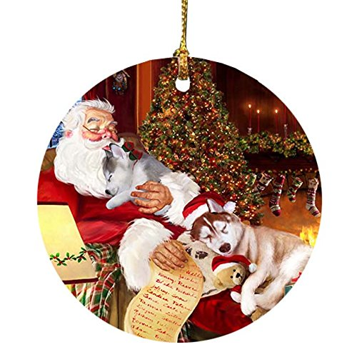 Siberian Husky Dog with Puppies Sleeping with Santa Holiday Christmas Ornament by Doggie of the Day