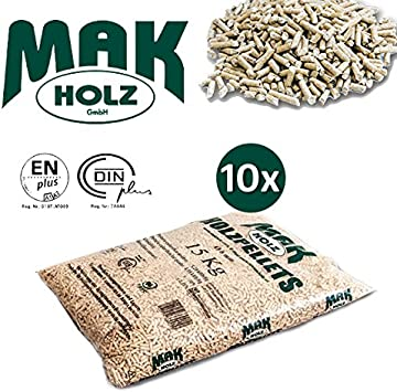 10Bolsas de 15kg Pellets Mak Holz austriaco claro Abeto Blanco Certificado en/DIN Plus