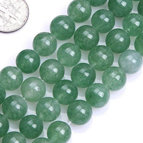 GEM-inside 10MM Round Green Jade Aventurine Beads Strand 15 (Jade Beads Strands)