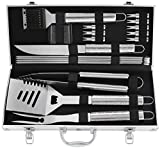 POLIGO 19pcs BBQ Grill Tool Set with Beautifully Pattern Engraved Handle Stainless Steel BBQ Accessories in Aluminum case Complete Outdoor Barbecue Grilling Utensils Kit - Birthday Gift for Man Woman