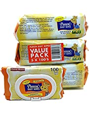 Pureen Fragrance Free Baby Wipes Value Pack (3 Packs, 100 Wipes/Pack),