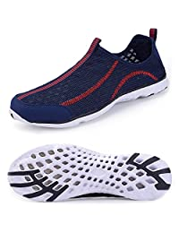 Mens Water Shoes Quick Drying Aqua Mesh Slip-on Shoes Athletic Lightweight Sneaker Outdoor Shoes