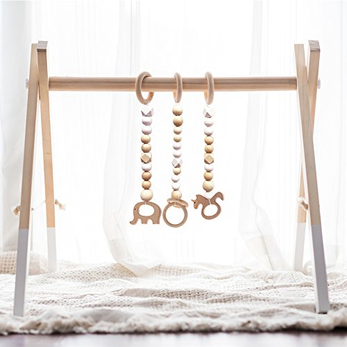 HAN-MM Wooden Play Gym with 3 Gym Toys Foldable Baby Play Gym Frame Activity Center Hanging Bar Newborn Gift White