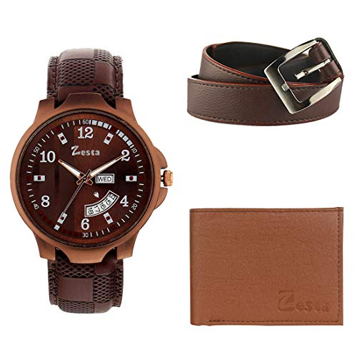 Zesta Combo Pack of Men's Brown Leather Wallet; Leather Belt and a Brown Analogue Watch for Boys