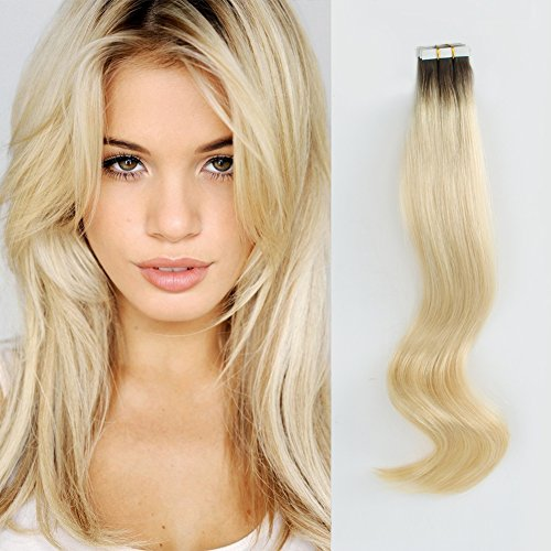 ABH AmazingBeauty Hair Roots Natural Hair Tape Extensions - Invisible Pre Taped Double sided Remy Human Hair Skin Weft, 20 Pieces, 50 Grams, Platinum Ash Blonde with Darkest Brown Base R2-60, 16 Inch from ABH AMAZINGBEAUTY HAIR