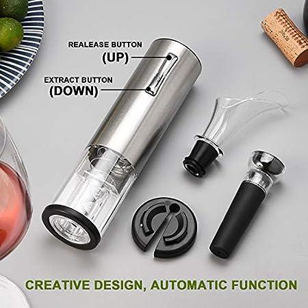 Kit de abridor de botellas de vino eléctrico, sacacorchos automático recargable que contiene cortador de papel de aluminio, tapón de vacío y vertedor de aireador de vino con cable de carga USB,Siliver