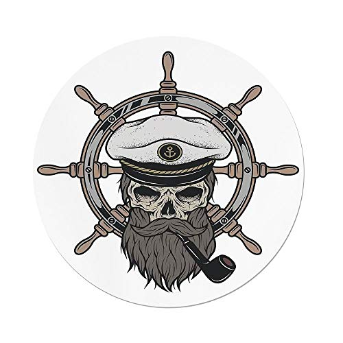 ecloth,Skull,Captain Pirate Skull in Sailor Hat with Beard and Pipe Nautical Theme Print Decorative,Brown White Grey,Dining Room Kitchen Picnic Table Cloth Cover,for Outdoor Indoo ()