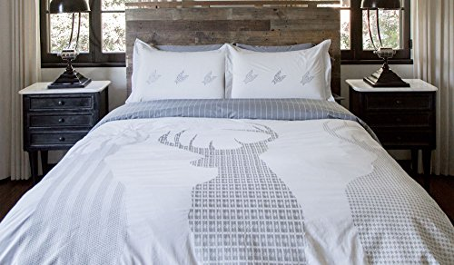 Thread Experiment Luxurious Outdoor Woodsman Duvet Cover and Pillow Shams  for Men, Grey / White, Full / Queen - Masculine Bedding: Amazon.com