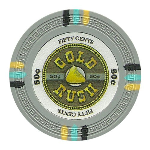 (Claysmith Gaming 50 Cent Clay Composite 13.5 Gram Gold Rush Poker Chips - Sleeve of 25 )